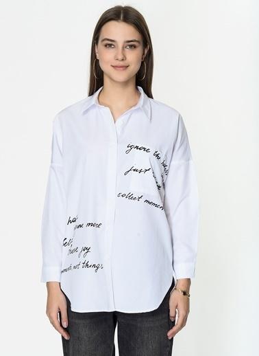Loves You Yazılı Poplin Gömlek Beyaz